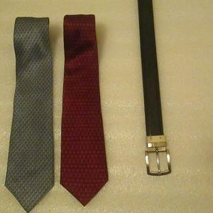 Mens ties and belt buckle bundle
